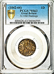 1042-1066 Edward The Confessor Penny Uncirculated grade. PCGS - Mint State 63
