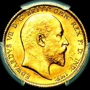 1902 Edward VII Sovereign Choice uncirculated. PCGS - MS64